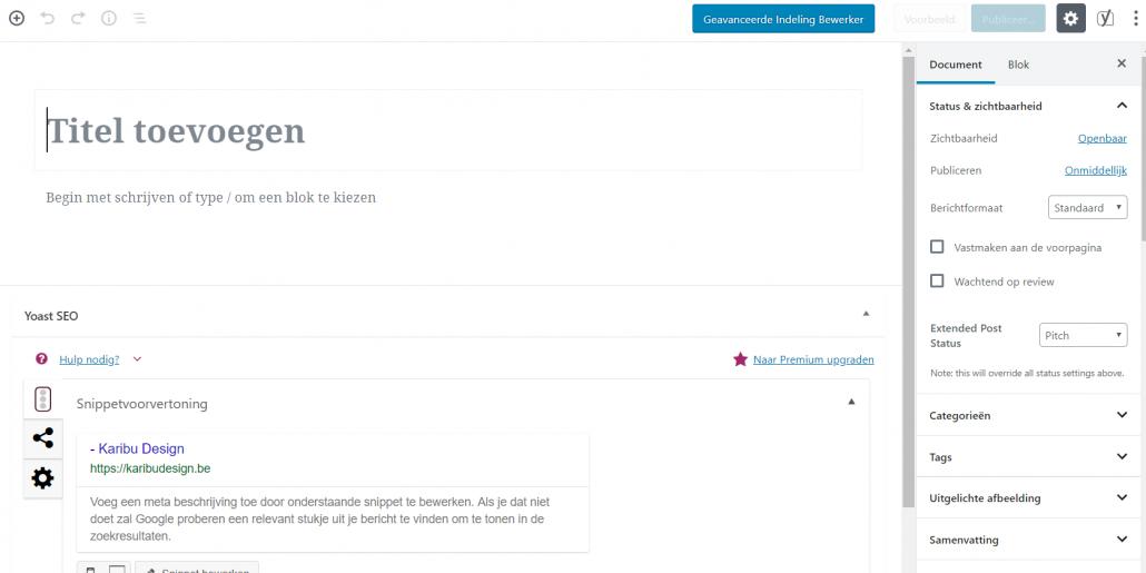 Gutenberg Block Editor WordPress Karibu Design