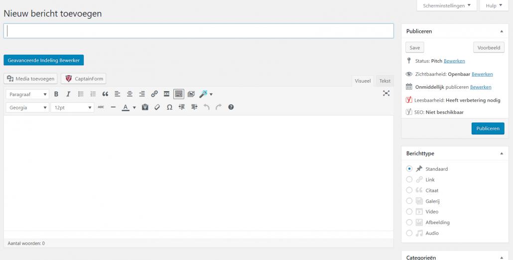 Klassieke bewerker WordPress Karibu Design